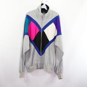 90s Mens Large Color Block Track Jacket Gray Pink